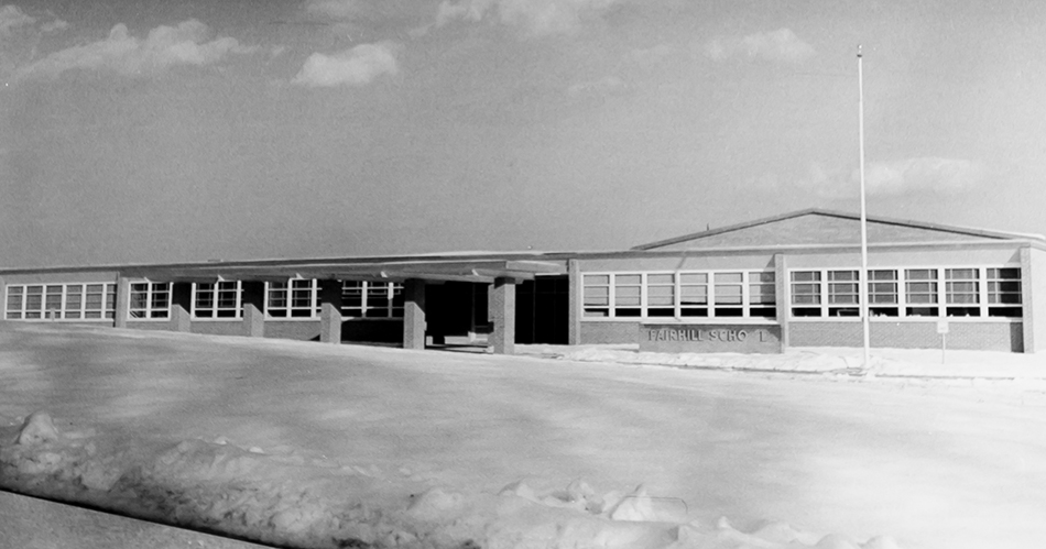 Black and white photograph of Fairhill Elementary School.